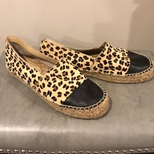 Aldo Shoes - Aldo leopard calf hair & black leather espadrille